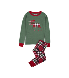 Little Blue House by Hatley Kids Applique Pajama Set Holiday Moose on Plaid