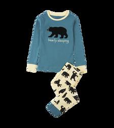 Little Blue House by Hatley Kids Applique Pajama Set Blue Bearly Sleeping