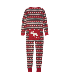 Little Blue House by Hatley Adult Union Suit Fair Isle Moose - back | US2WIMO223