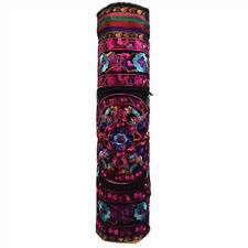 Relaxus Hand Embroidered Bokhara Yoga Mat Bags fuchsia/ Purple | REL-709341