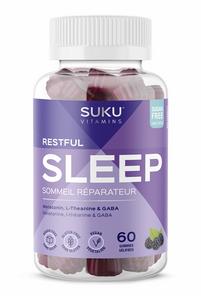 SUKU Vitamins Restful Sleep (Melatonin, L-Theanine & GABA) - Blackberry Hibiscus 60 Gummies   628176472188