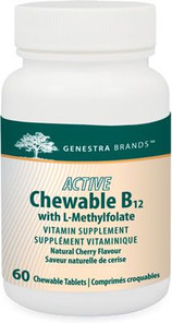 Genestra Active Chewable B12 with L-Methylfolate Natural Cherry Flavour 60 Chewable Tablets | 883196131013