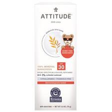 Attitude Baby & Kids Sensitive Skin Mineral Sunscreen Fragrance Free SPF 30 75 g | 626232160024