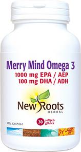 New Roots Herbal Merry Mind Omega 3 1000mg EPA/100mg DHA (Formerly OmegaMood) 30 Softgels | 628747121637