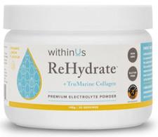 withinUs ReHydrate + TruMarine Collagen 30-Serving Jar 148g - Lemon | 628504021071