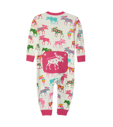 Little Blue House by Hatley Baby Union Suit Patterned Moose
