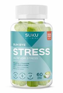 SUKU Vitamins Buh Bye Stress with Rhodiola, L-Theanine, Lemon Balm & GABA - Zenful Matcha Decaffeinated 60 Gummies | 628176472195