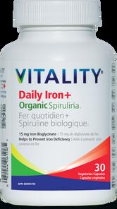 Vitality Daily Iron + Organic Spirulina - 15mg Iron Bisglycinate 30 Veg Caps | 062044175038