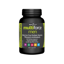 Prairie Naturals Multi-Force for Men Daily Iron-Free Multiple Vitamins, Minerals & Antioxidants 60 V-Capsules | 067953004622