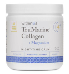 withinUs TruMarine Collagen + MAGNESIUM Powder (Night-Time Calm) - Lemon Flavour 230g | 628504021514
