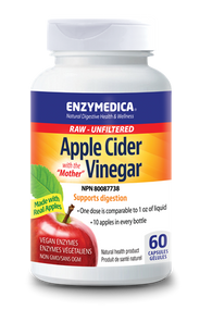 """Enzymedica Raw Apple Cider Vinegar with the """"Mother"""" 60 Capsules 