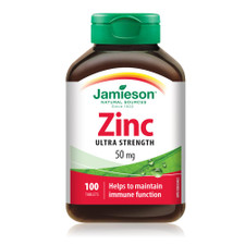 Jamieson Zinc Ultra Strength 50 mg 100 Tablets | UPC 064642023308