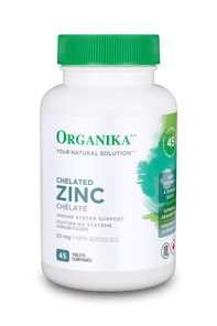 Organika Chelated Zinc 50mg - Immune System Support 45 Tablets   620365030629