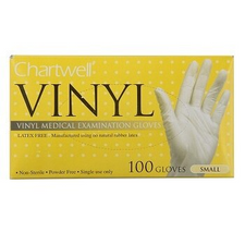 Chartwell Vinyl Powder Free Disposable Gloves | UPC 771295813421, 771295813438, 771295813445
