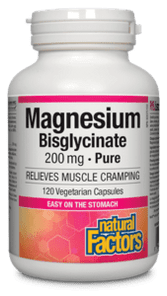 Natural Factors Magnesium Bisglycinate Pure 200mg 120 Vegetarian Capsules   068958016412