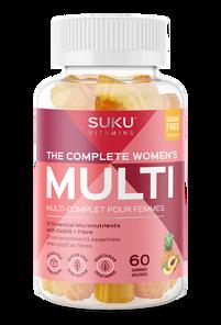 SUKU Vitamins The Complete Women's Multi with CoQ10 + Fibre - Peach & Pineapple Flavour 60 Gummies |