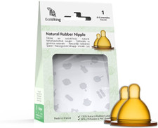 EcoViking Natural Rubber Nipple - Wide Neck Round (2-Pack) - Stage 1 (0-3 Months) | 7340151700316