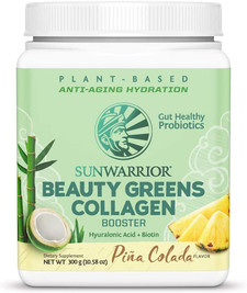 Sunwarrior Plant-Based Beauty Greens Collagen Booster with Hyaluronic Acid and Biotin - Pina Colada 300g | 814784027524