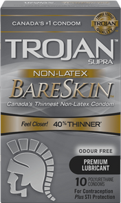 Trojan Supra Non-Latex BareSkin Lubricated Polyurethane Condoms - Odour Free - 10 Count | 061700991791