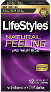 LifeStyles Natural Feeling Lubricated Latex Condoms 12 Count | 070907047125