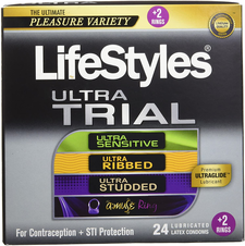 LifeStyles Ultra Trial Variety Pack 24 Lubricated Latex Condoms + 2 Rings | 070907028728