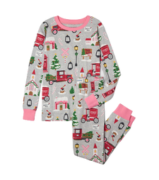 Little Blue House by Hatley Kids Pajama Set - Christmas Village   PJATOWN001