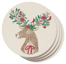 Now Designs Dasher Deer Soak Up Coasters Set of 4 | 064180292921