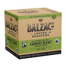 Balzac's Coffee Roasters Fairtrade Organic Farmers Blend Coffee Pods - Marble Roast Bright-Complex 18 Count | 628614001826