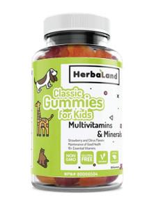 Herbaland Classic Gummies for Kids Multivitamins & Minerals - Strawberry & Citrus Flavours 60 Gummies | 813523000583