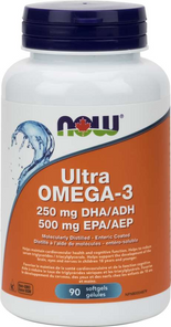 Now Foods Ultra Omega-3 (250mg DHA / 500mg EPA) 90 Softgels | 733739816610