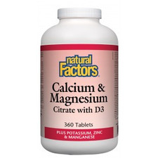 Natural Factors Calcium and Magnesium Citrate with D3 Plus Potassium, Zinc and Manganese 360 Tablets| 068958016092