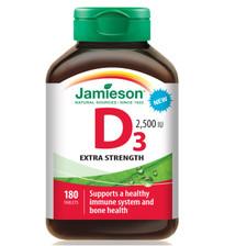 Jamieson Vitamin D3 2,500 IU Extra Strength 180 Tablets   064642096586
