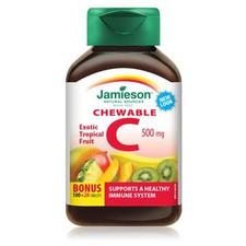 Jamieson Vitamin C Chewable 500mg - Tropical Bonus - 100+20 Tablets   064642024572