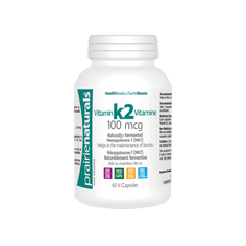 Prairie Naturals Vitamin K2 100mcg - Naturally Fermented Menaquinone 7 (MK7) 60 V-Capsules | 067953004325