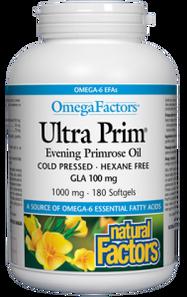 Natural Factors Ultra Prim Evening Primrose Oil 1000mg OmegaFactors 180 Softgels | 068958023472