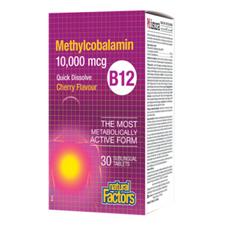 Natural Factors B12 Methylcobalamin 10,000 mcg - Quick Dissolve, Cherry 30 Sublingual Tablets | 068958012445