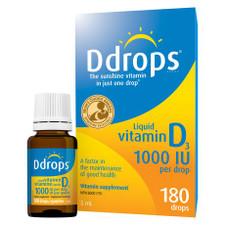 Ddrops Liquid Vitamin D3 1000 IU 180 Drops | 0851228000040