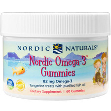 Nordic Naturals Omega-3 Gummies Tangerine Treats with Purified Fish Oil 60 count | 768990701306