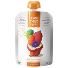 Love Child Organics Baby Food Pouch with Quinoa, Apples, Sweet Potatoes, Carrots and Blueberries for 6 Months and Over | 0858860001046