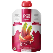 Love Child Organics Baby Food Pouch with Grains, Yogurt, Apples, Strawberries and Rhubarb for 8 Months and Over