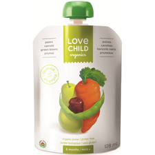 Love Child Organics Baby Food Pouch with Quinoa, Pears, Carrots, Green Beans and Prunes for 6 Months and Over | 0858860001169