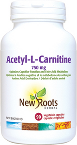 New Roots Herbal Acetyl-L-Carnitine 750mg 90 Veg Capsules   628747117302