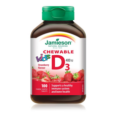 Jamieson Chewable Vitamin D3 400IU for Kids - Strawberry Flavour 100 Panda-Shaped Tablets | 064642058690