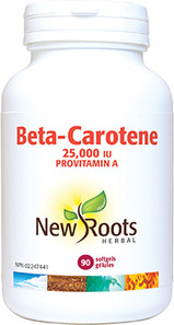 New Roots Herbal Beta-Carotene 25,000IU 90 Softgels |628747107747