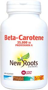 New Roots Herbal Beta-Carotene 25,000IU 90 Softgels  628747107747