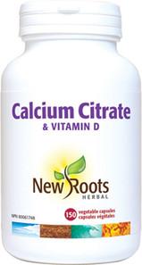 New Roots Herbal Calcium Citrate & Vitamin D 150 Veg Capsules | 628747103190