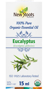 New Roots Herbal Eucalyptus 100% Pure Organic Essential Oil 15mL|628747221382