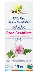 New Roots Herbal 100% Rose Geranium Pure Organic Essential Oil 15mL   628747221498