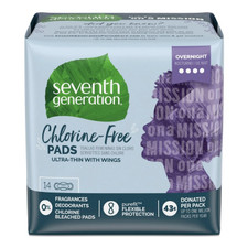 Seventh Generation Free & Clear Ultra Thin Pads with Wings - Overnight 14 count   732913451043