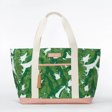 Logan and Lenora Beach Tote Palmtastic with Camel Tassel